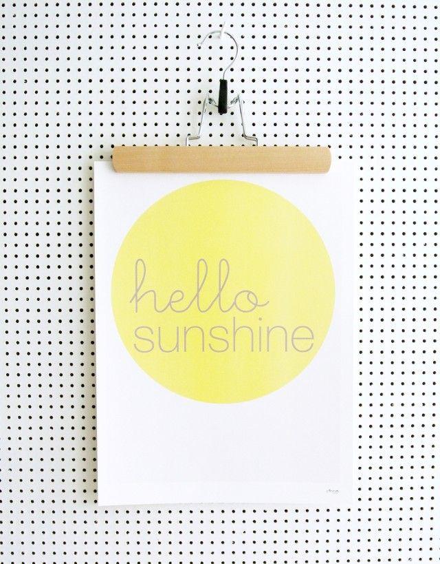 Hello sunshine - Poster by Och form #nordicdesigncollective #poster #print #ochform #sun #sunshine #yellow #summer #hello #hellosummer #art #wallart #hellosunshine #paper