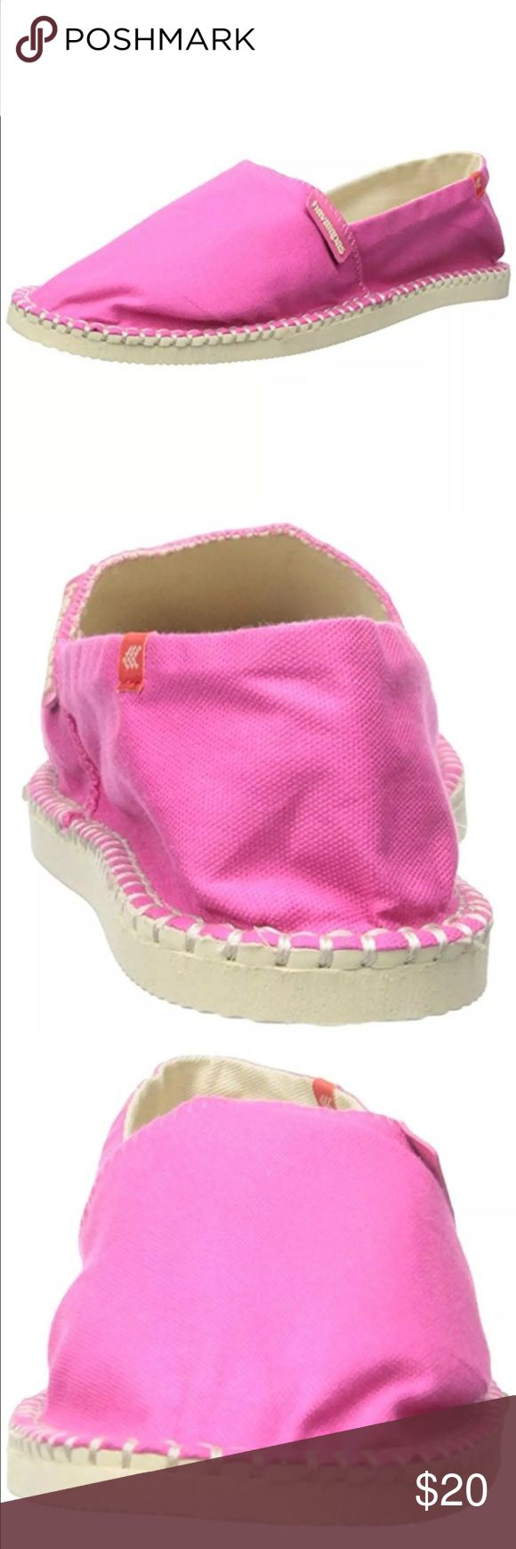 New Havaianas Womens Origine II Pink Espadrilles New Havaianas 7177 Womens Origine II Pink Flat Espadrilles Shoes 7 Medium  	•	Manufacturer: Havaianas 	•	Size: 7 Medium (B,M) 	•	Size Origin: US 	•	Manufacturer Color: Fuchsia 	•	Retail: $38.00 	•	Condition: New with box 	•	Style Type: Espadrilles 	•	Collection: Havaianas 	•	Shoe Width: Medium (B, M) 	•	Heel Height: 1/2 Inches 	•	Platform Height: 1/2 Inches 	•	Closure: Slip On 	•	Material: Textile/Man Made 	•	Fabric Type: Canvas Havaianas…