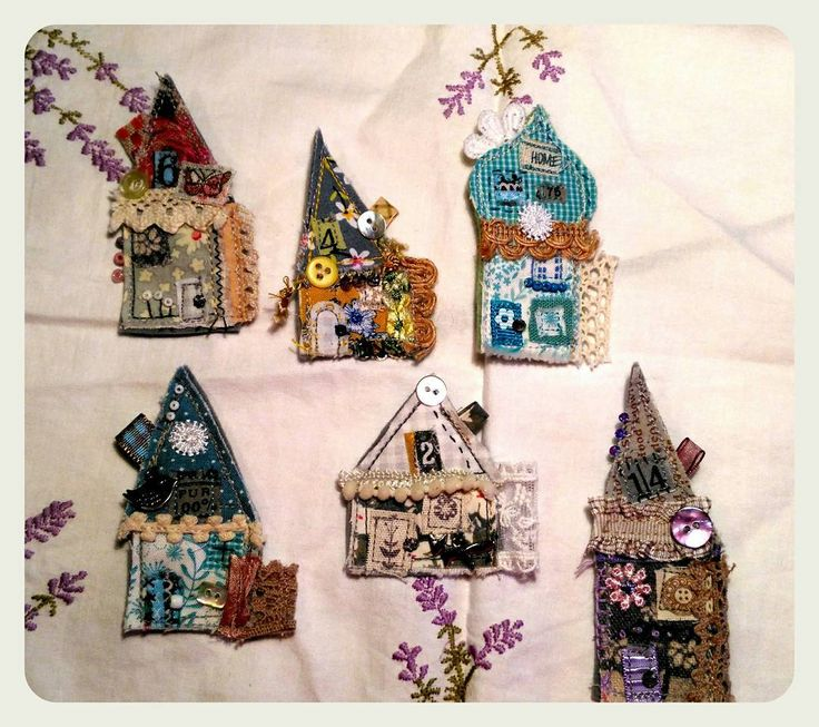 #textile #brooches supplied on an #embroidery #gift #card for sale in my etsy shop #fabric #sewing #brooch #jewelry #jewellery #pin #badge #house #cottage