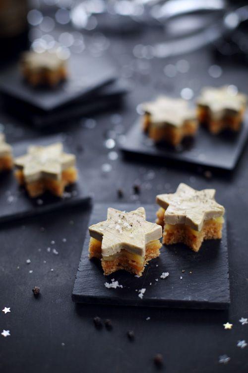 Bouchées étoilées de pain dépices, gelée de mangue et foie gras > Idée de présentation de foie gras