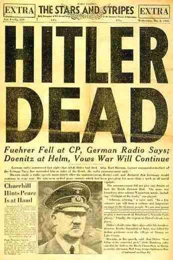 """La revista """"Barras y Estrellas"""" que se distribuía entre los soldados, anuncia la muerte de Hitler."""
