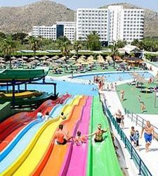 Views of the Club Mac from the water park Hidropark. Puerto Alcudia, Mallorca  http://www.clubmac.es