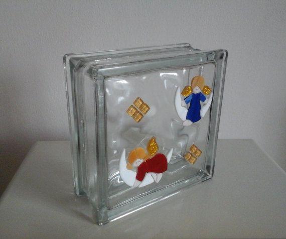 Light glass block lamp stained glass mosaic di Crazy4Mosaics