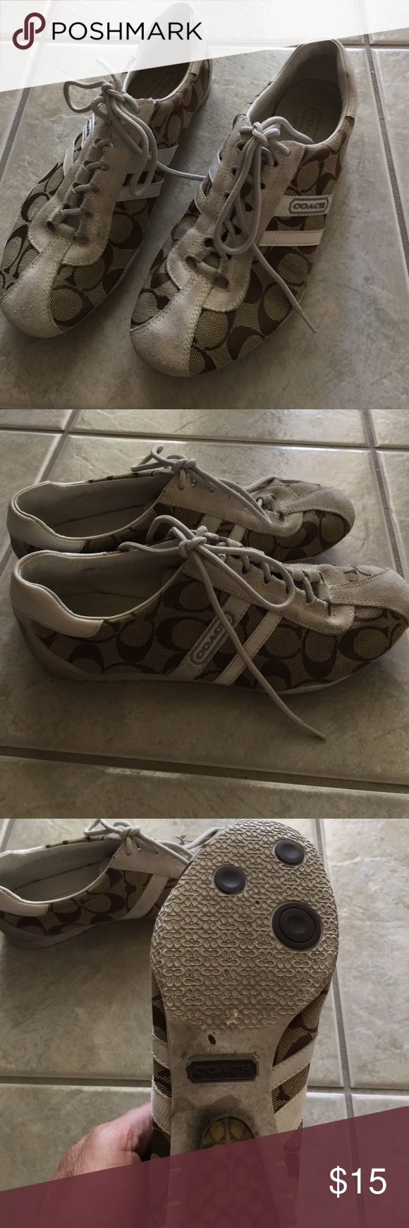 Coach tennis shoes Coach tennis shoes. The suede has staining. Only worn 3 times. Needs to be cleaned. Coach Shoes Sneakers