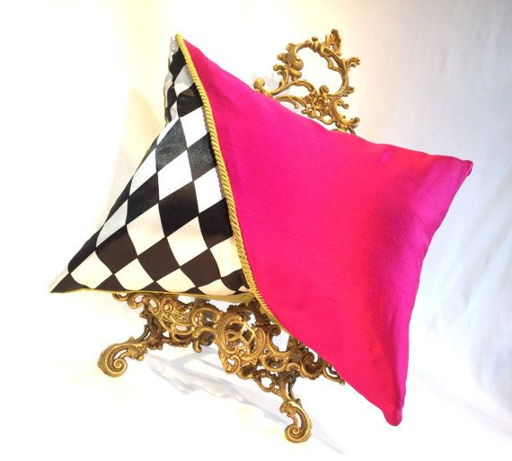 Double Sided Fushia Pink & Vibrant Green Silk Lined Pillow / Cushion with - Luxury Pillow / Pink Pillow / Black and White / Pink Home Deco