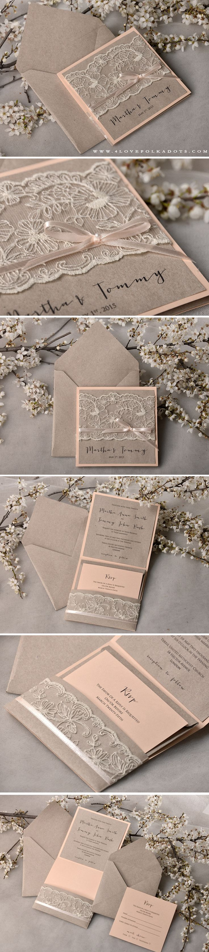 Peach u0026 Eco Lace Wedding Invitations handmade