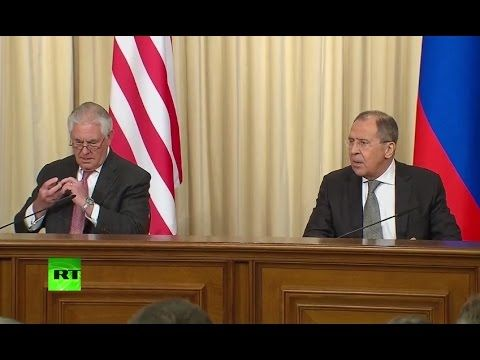 """04/12/2017 - Secretary of State Rex Tillerson joined Russian Foreign Minister Sergey Lavrov in a press conference in Moscow Monday in which Tillerson claimed that U.S.-Russia relations have hit a """"low point.""""  Tillerson insisted that the relationship between the two nations need to be improved.  """"There is a low level of trust between our two countries. The world's two foremost nuclear powers cannot have this kind of relationship,"""" Tillerson said."""