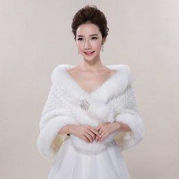 Alta calidad 2015 Crystal nupcial blanco de dama de honor abrigos de invierno la piel de imitación del encogimiento de hombros Capes Estola Chal Chaqueta Para Prom Wedding Party 2016