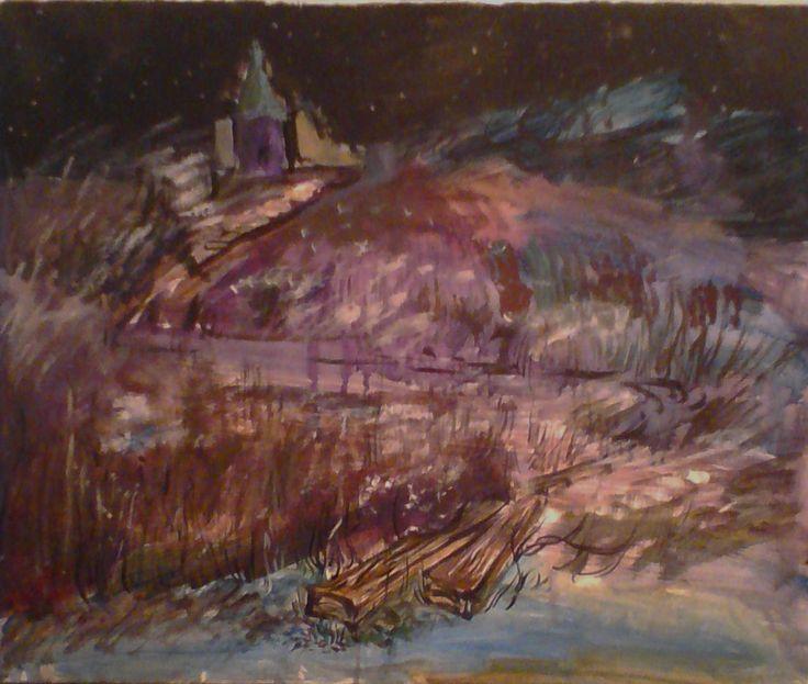 "ночной пейзаж ""Дорога"", акрил, бумага, 40х50 см the night landscape is ""Road"", acrylic, paper, 40х50 cm"