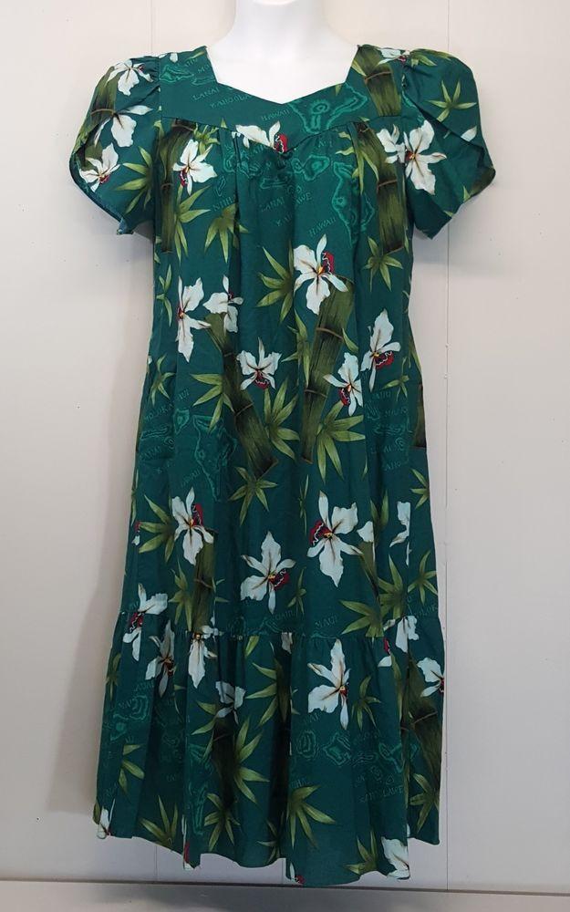 8be852c8 KYs International Fashion Dress Muu Muu LARGE Green Floral Hawaiian Hawaii  #KYsInternationalFashion #MuuMuuMaxiDressOverallDress #AnyOccasion