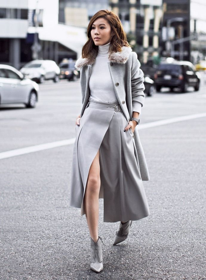 wrap skirt 2017 with wool coat and gray boots fashion