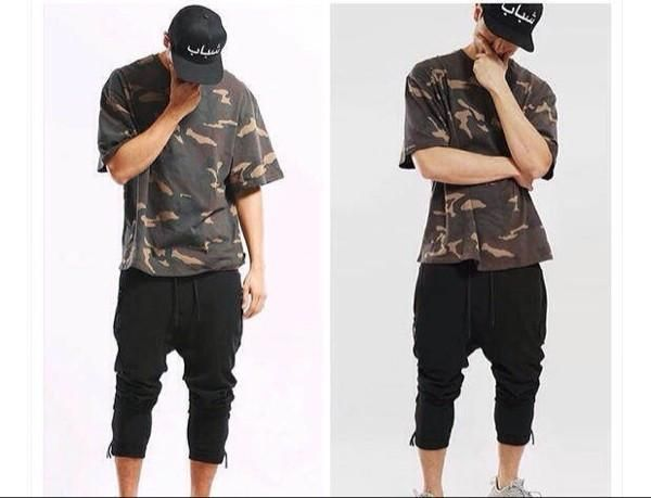 new  summer t shirt homme Kanye style t-shirt hip hop camouflage t shirt streetwear fashion mens t shirts