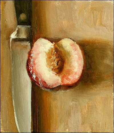 White Peach Half and Knife  Oil on card Painting status: SOLD  Daily painting for Friday 22 July, 2005