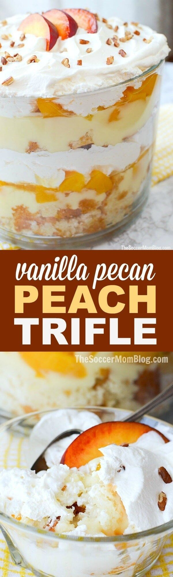"This Vanilla Pecan Peach Trifle is a total show-stopper, but it's actually pretty easy to make (especially with a few box mix ""cheats"") (Mix Berry Cheesecake)"