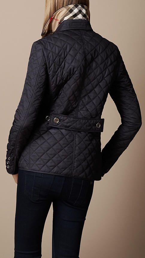 Navy Diamond Quilted Jacket - Image 2