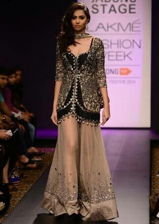 Sheer nude palazzo with beautiful crafted elegant black jacket tunic