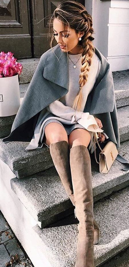 | @jessicakruu ♡ #winter #outfits / Grey Cape // Cream Knit // Grey Skirt // Suede Knee High Boots