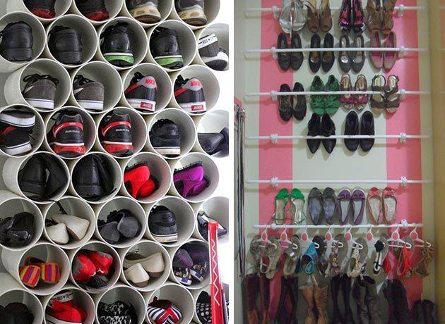 Utilizar canos de PVC ou varões de cortina (ou de cortina de banheiro), são ideias originais e acessíveis!