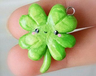 Kawaii Four Leaf Clover - Polymer Clay Charm,   St. Patrick's Day