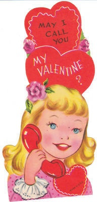 Vintage Valentine Card Girl on Telephone May I Call You Die Cut for Children | eBay