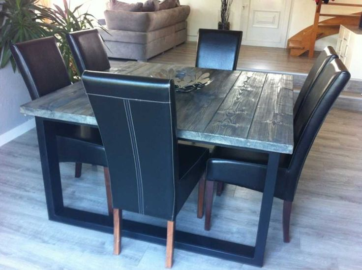 table de salle manger style industriel acier et bois. Black Bedroom Furniture Sets. Home Design Ideas