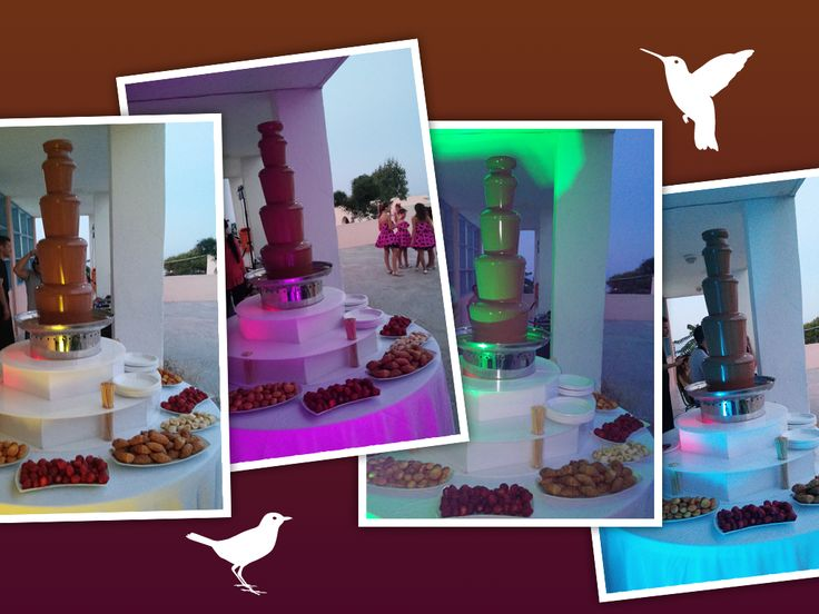 An amazing surprise was waiting the kids at the party for the end of the school year, a huge #chocolate #fountain for our little friends!  By Spicy Bites #catering & #events #santorini