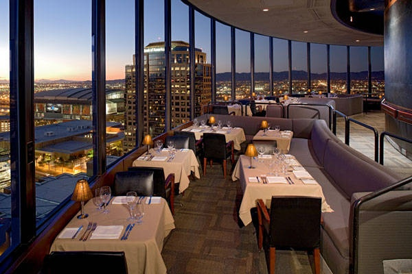 The Compass room. The fanciest restaurant i've ever eaten at, located in phoenix, az. It is on the top floor of the Hyatt and it rotates so while eating you get to experience the whole phoenix valley! Beautiful.