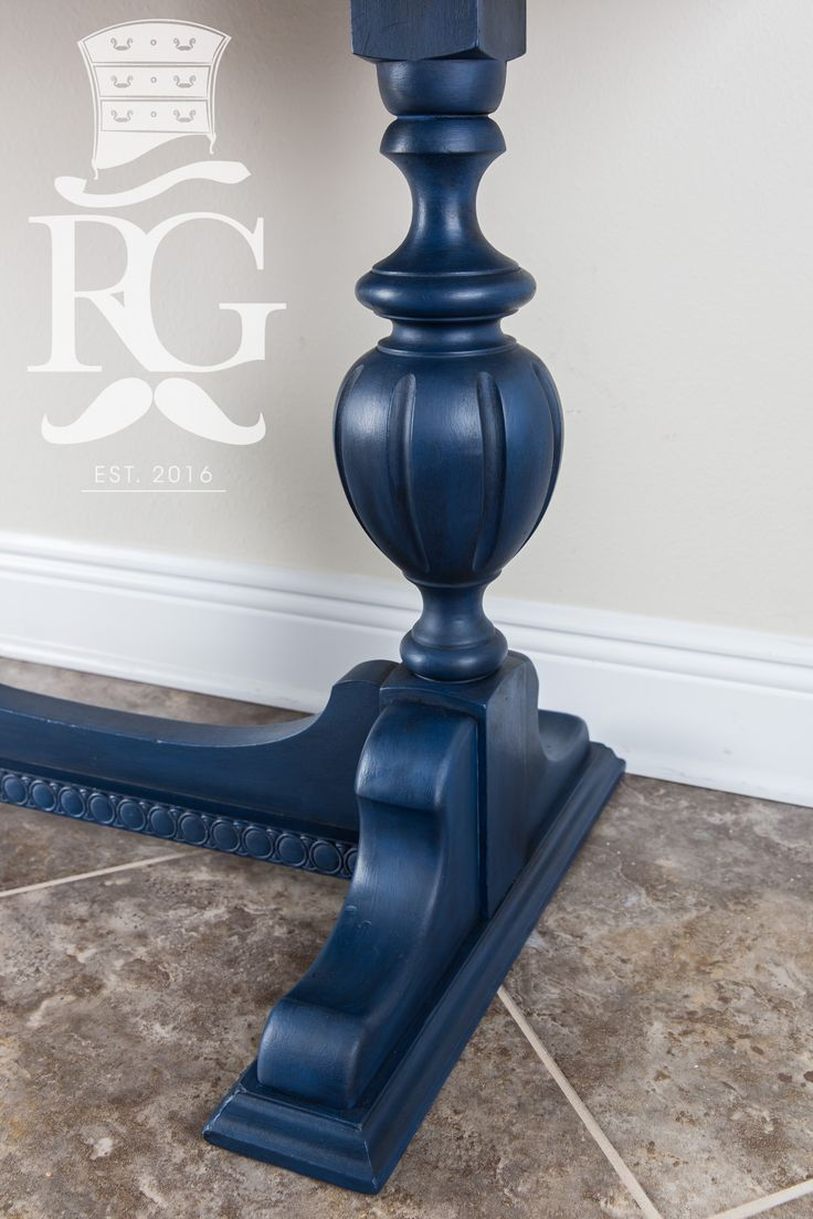 "Hand painted Entry Table in a finish I call ""Deep Ocean"" which is Annie Sloan Chalk Paint, Napoleonic Blue finished with Clear Wax and Black Wax.    https://www.facebook.com/refurbishedgentleman/"