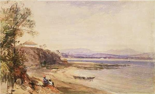 Broulee in 1843; John Skinner Prout.   The pub's no longer there, the boat's no longer there but every now and then there's good waves here.