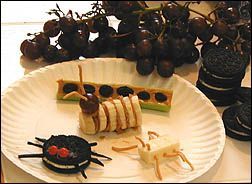 Creepy crawly bugs for snack time.  This page has instructions for Ants in the Sand, Bugs on a Log, Cookie Spiders, Muenster Beetles, and Peanut Butter Caterpillars.  Nice addition to lessons on bugs.