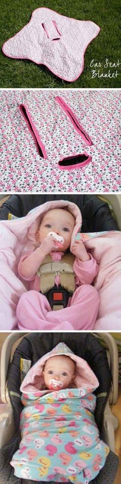 DIY: Baby car seat blanket  Clever idea to remember for next time! Très bonne idée!!!