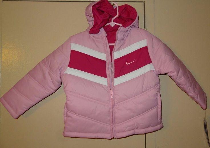 NIKE Perfect Pink Girls Size 4T Lightweight Reversible Hooded Puffer Jacket  #Nike #PufferJacket #Everyday