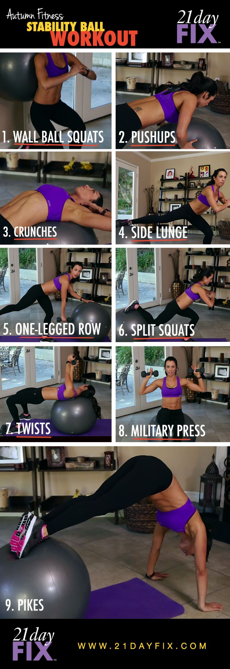 Stability ball workout, ball workout, in-home workout, quick workout, quick fixes, 21 day fix, autumn calabrese.  BELIEVE it or not, you can still lose weight even if you can't do some of these moves!  The modifier in this program is AMAZING! Click here and you'll have info in your inbox in no time! http://go.ncfitclub.net/21-day-fix/