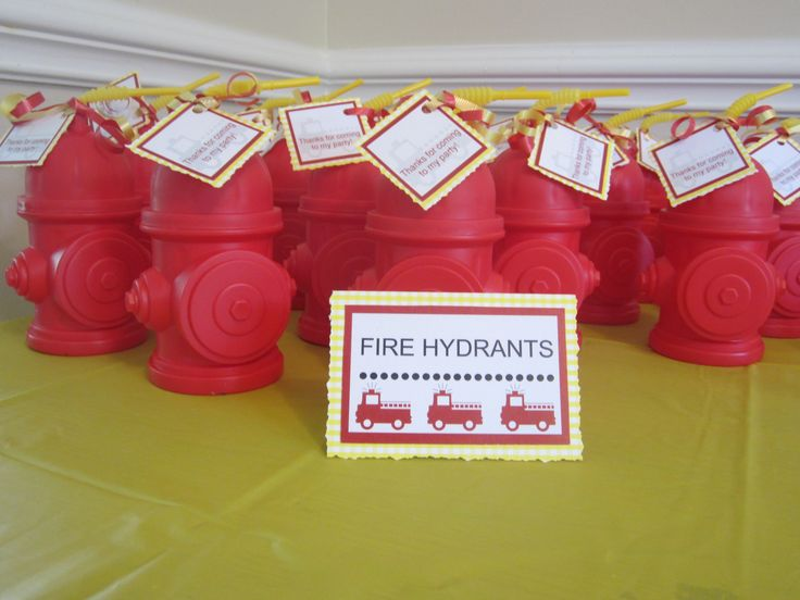 Fire hydrant sippy cups for fireman party