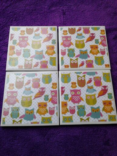 Set of 4 decoupaged tile coasters. Owls by BlackwellsBoutique, $8.00