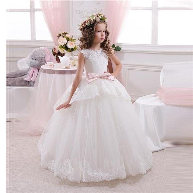 Princesse robe de bal dentelle blanche fleur filles robes pour les mariages pas cher 2016 Tulle ceinture arc noeud personnalisé robe de première Communion robe