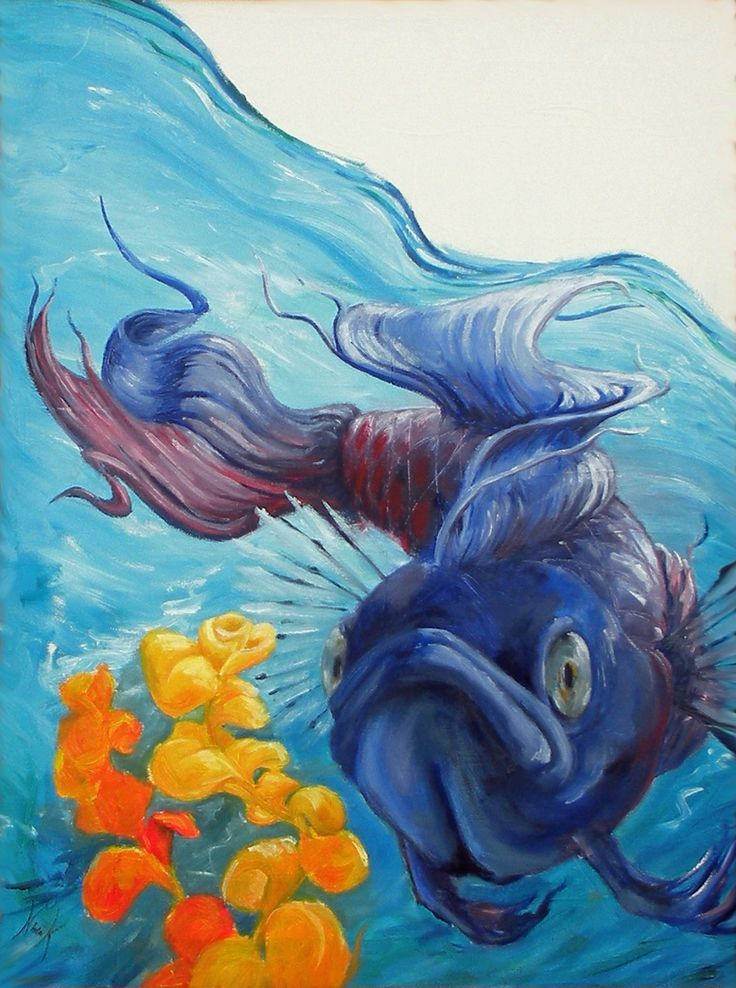 Betta fish painting by pugfishstudios on etsy for Betta fish painting