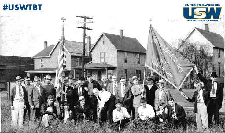 In September of 1940, what is now #USW Local Union 1123 – Golden Lodge held the groundbreaking ceremony for their first union hall.  Holding the shovel is Clinton S. Golden, the Northeastern Regional Director of the Steel Workers Organizing Committee (SWOC) and next to him is then President of the local I.W. Abel who would go on to be District 27 Director and International President from 1965-1977.  The first meeting was held there on December 4, 1940. #USWTBT #ThrowbackThursday