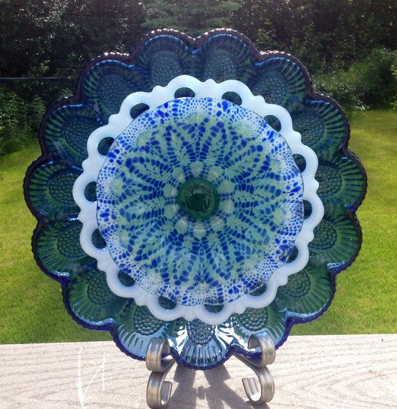 Repurposed Vintage Glass Plate Suncatcher Outdoor Yard Garden Art ........................ by BorealisBlooms (Etsy)