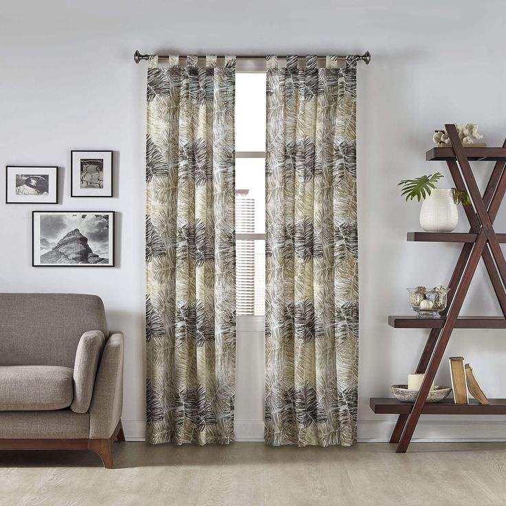 Pairs to Go Marley Tropical Window Curtain Panel Pair (60x84 - Neutral) (Cotton Blend, Nature)