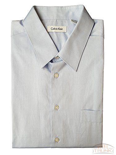 Calvin Klein Men's Long Sleeve Herringbone Shirt, Light Blue, L 16.5-17 34-35
