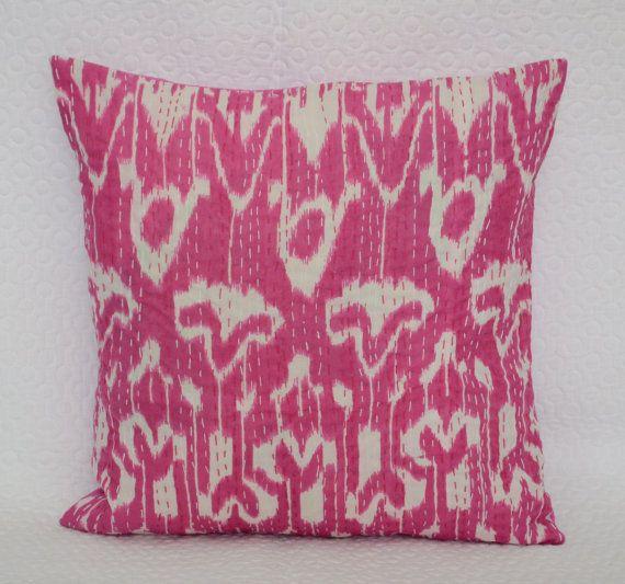 Pink Ikat Pillow Cotton Kantha Pillow Indian Throw Pillow Cushion Cover  IKAT CUSHION Cover Indian Pillow Gypsy Pillow Ethnic Home Decor