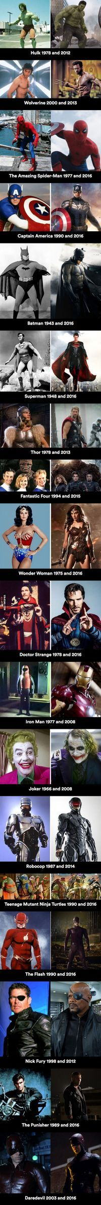 On-screen superheroes then and now