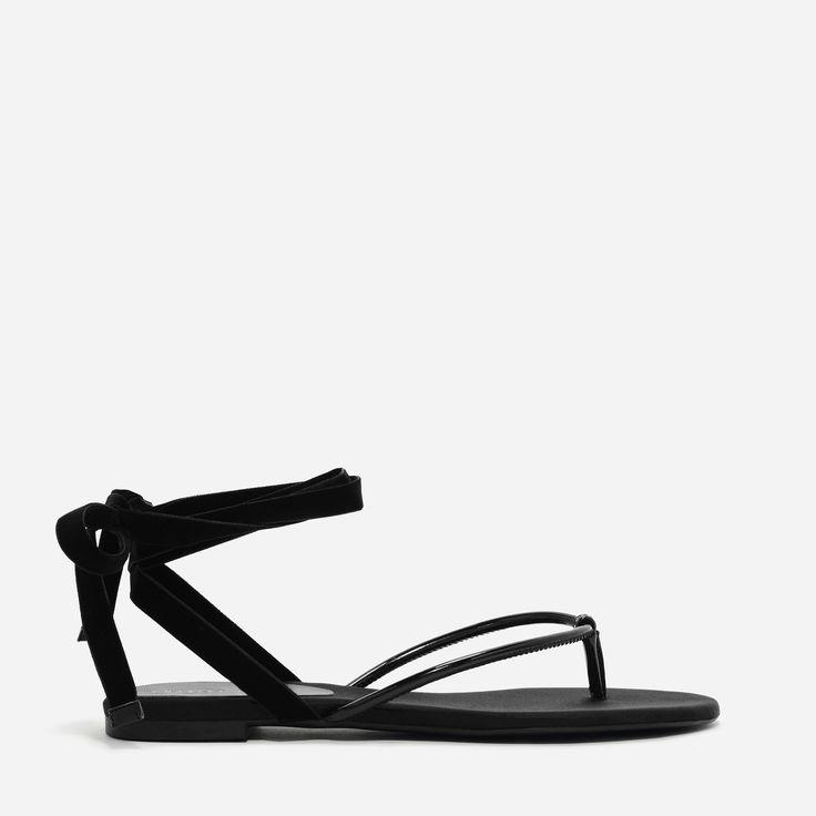 CHARLES & KEITH  Black Ribbon Thong Sandals |