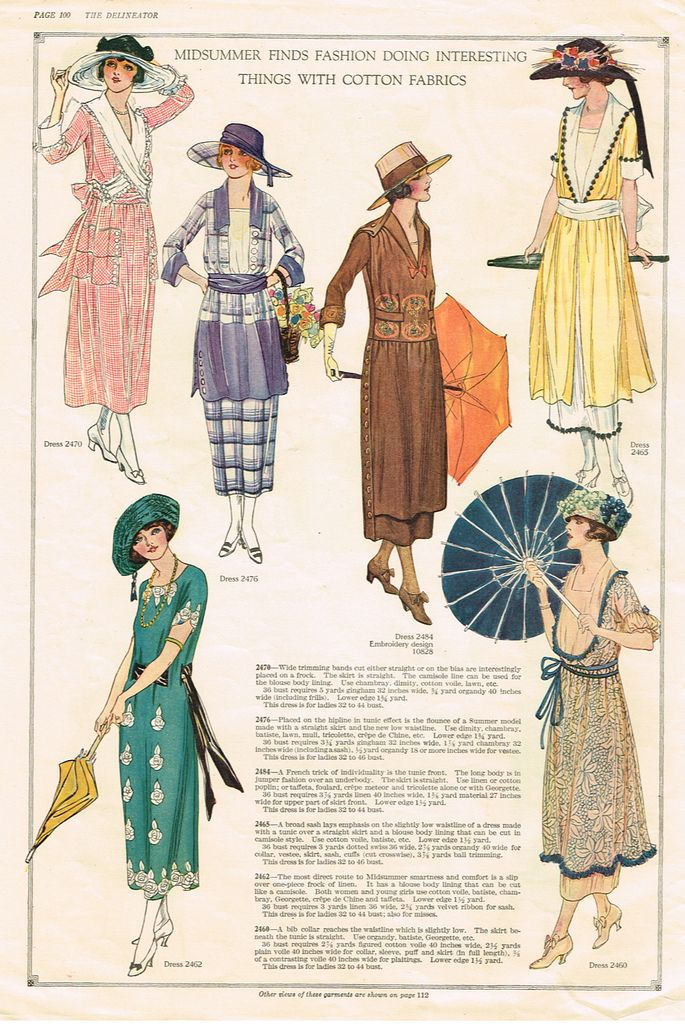1920's dress style and silhouette, delineator 1917 - nice! This shows many different dresses.