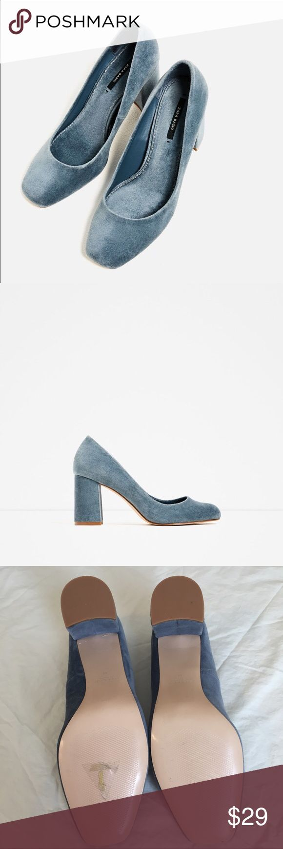 """Zara Smoky Blue Velvet High Heel Pumps Size 40 Only worn inside a few times to try on with outfits. Zara Basic brand. Smoke free home. Heel Height is 3"""". Zara site states size 40 is a US 9 Zara Shoes Heels"""