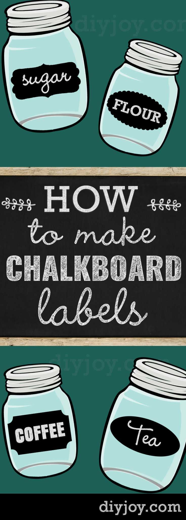 How To Make Chalkboard Labels | Fun Mason Jar Crafts and Ideas - DIY Chalkboard Paint Labels Tutorial for Cool Rustic Home Decor Projects and Crafts