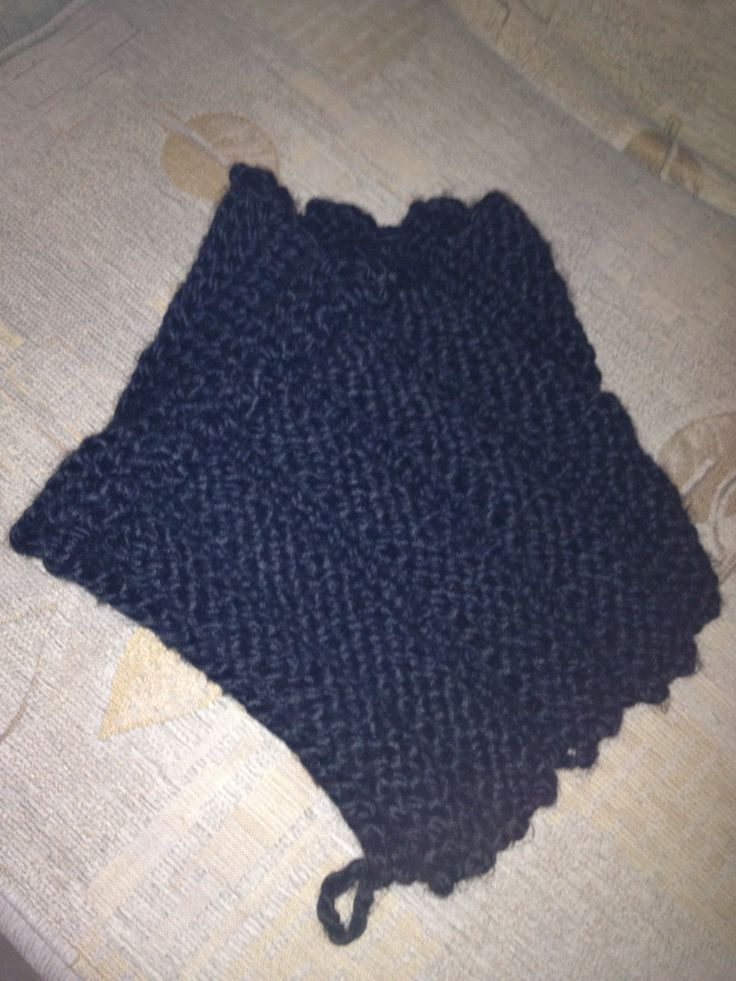 Chunky knit black cowl scarf - made by me.
