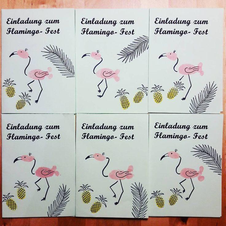 Einladungen für den Flamingo- Kindergeburtstag | #Flamingo #Ananas #Palmblatt #Geburtstagsfeier #Kindergeburtstag #Einladung #Party #Fingerstempel #Handzeichnung