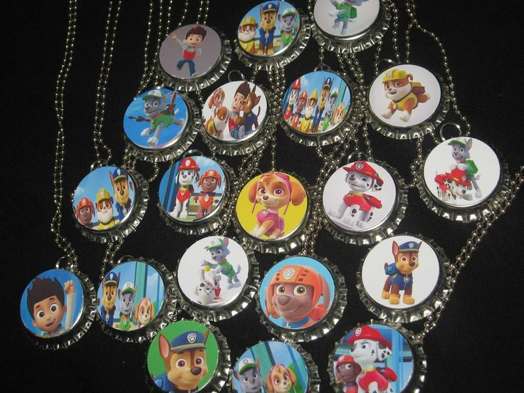 Paw Patrol Bottlecap Ball Chain Necklace Party Favors Lot Of 20 Flats Available